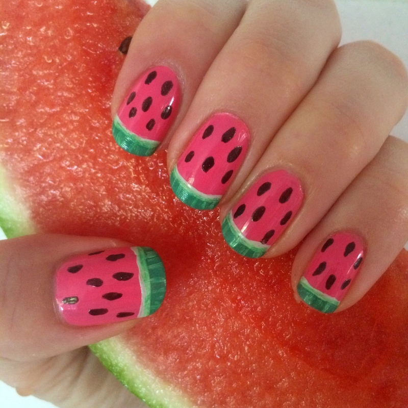 Watermelon French Tip nail art by skier2201