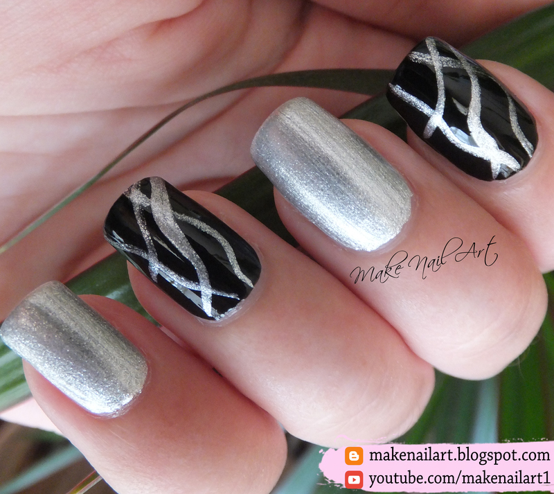 Abstract Black And Silver Metallic Nail Art Design nail art by Make ...