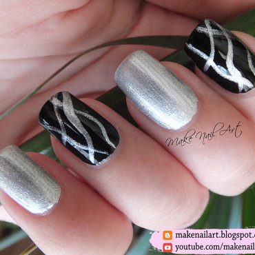 Abstract Black And Silver Metallic Nail Art Design nail art by Make Nail Art