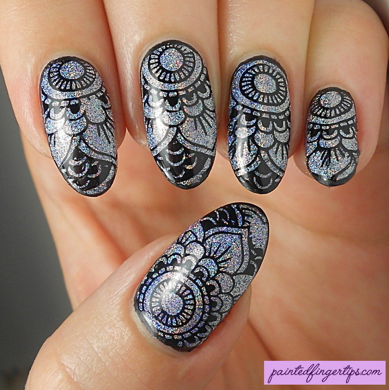 Holo nails with stamping nail art by Kerry_Fingertips