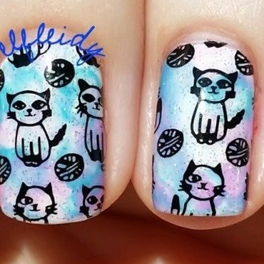 Smooshy with stamping nail art by Jenette Maitland-Tomblin
