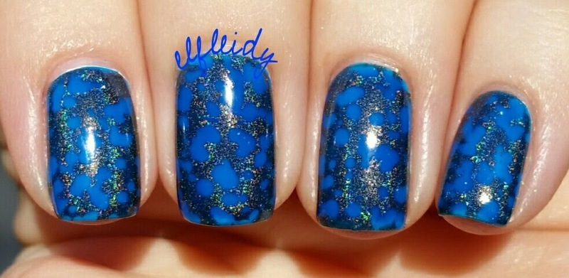Stamped waterspotted nail art by Jenette Maitland-Tomblin