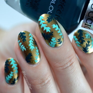 Metallic Leaves nail art by Furious Filer