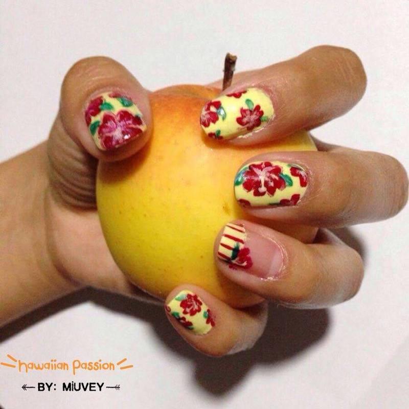 Hawaiian Passion nail art by Miuvey Cho