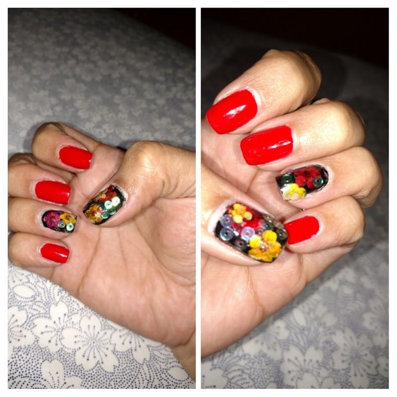 Red N crazy nail art by Rubby  Jarnagin