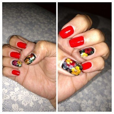 Red N crazy nail art by Rubby  Jarnagin
