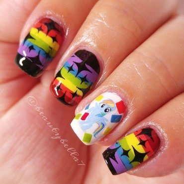 Rainbows and Ponnies nail art by Bellini Solis
