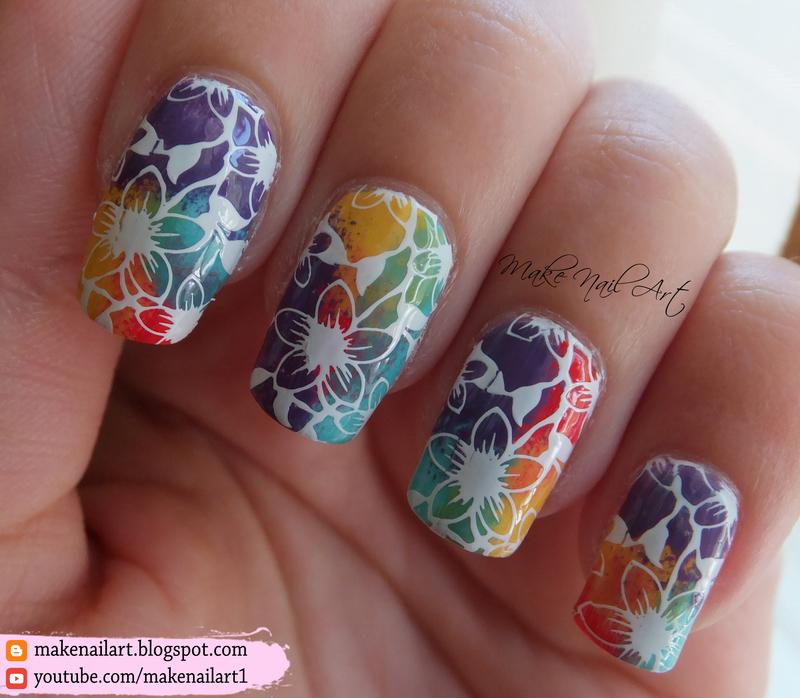 Rainbow Flowers Nail Art Design nail art by Make Nail Art