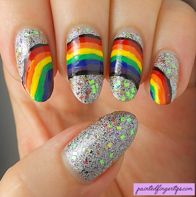 Freehand rainbow nails nail art by Kerry_Fingertips