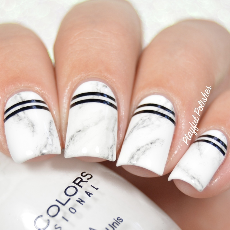 31DC2016 - Day 7, Black & White Nails nail art by Playful Polishes