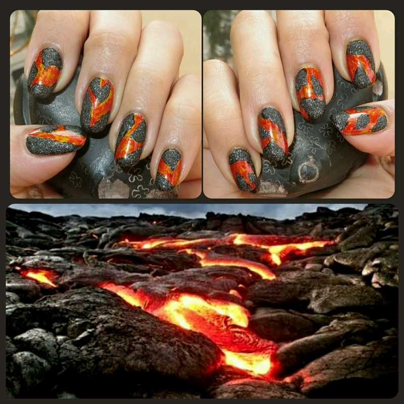 Volcano nail art by DeadCellCanvases