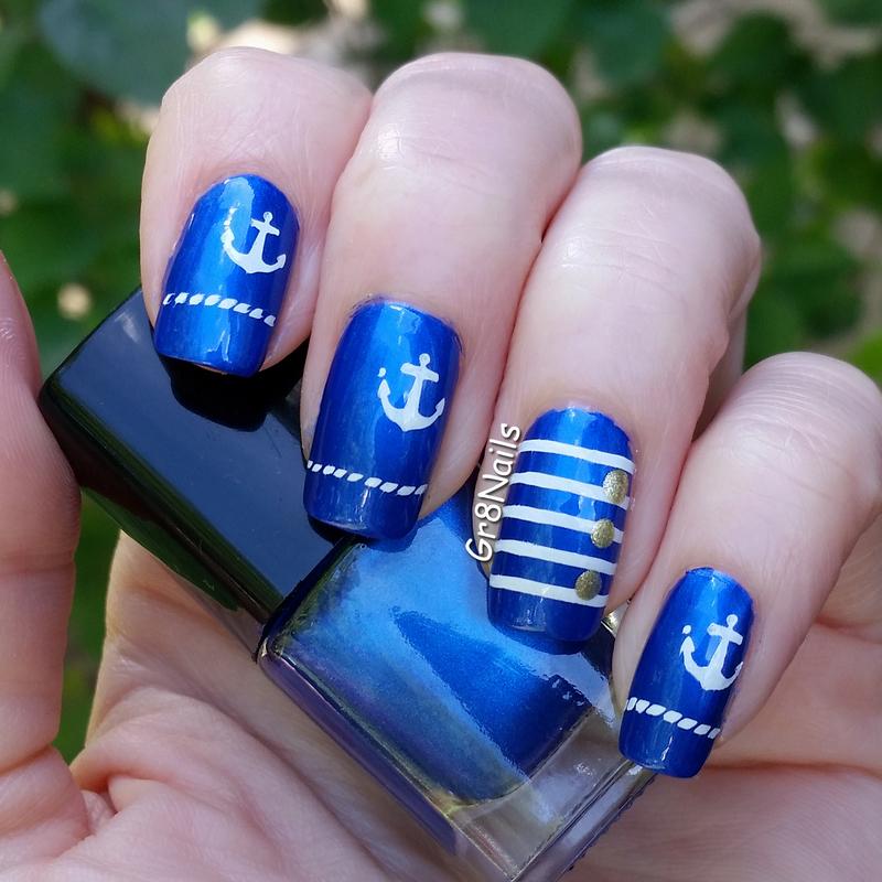 Proud Navy Mom nail art by Gr8Nails