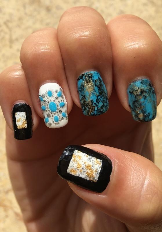 turquoise luxury nail art by Idreaminpolish