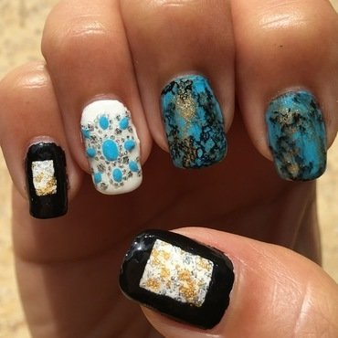 turquoise luxury nail art by Idreaminpolish