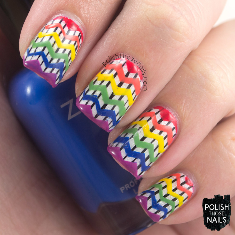 Rainbow Zags nail art by Marisa  Cavanaugh
