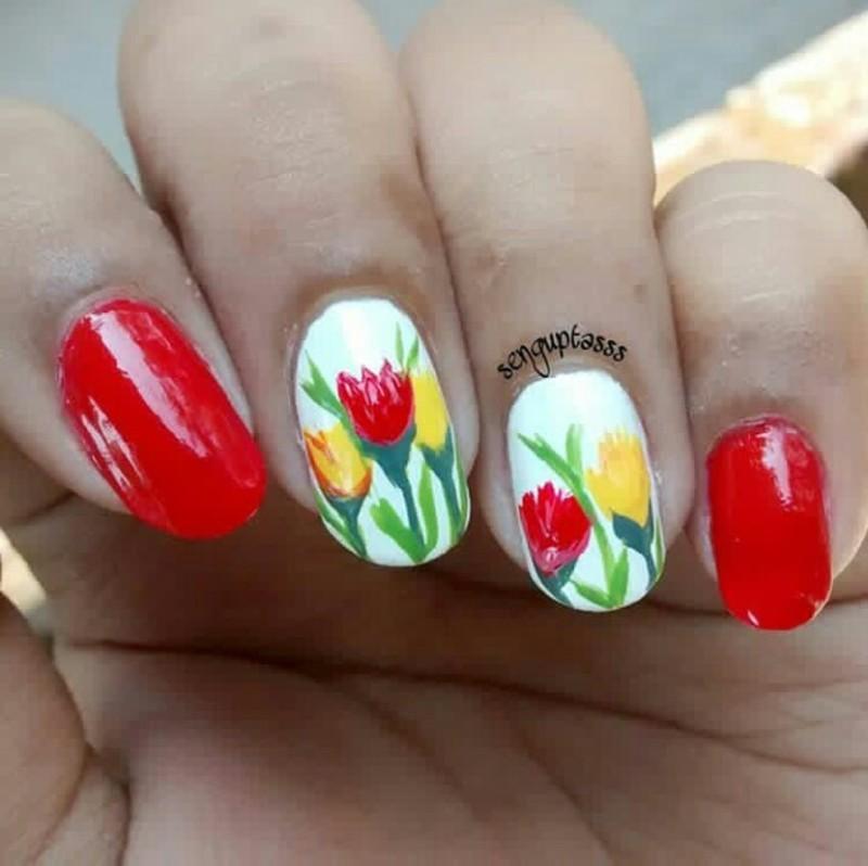 Tulip nail art by Sohini  Sengupta