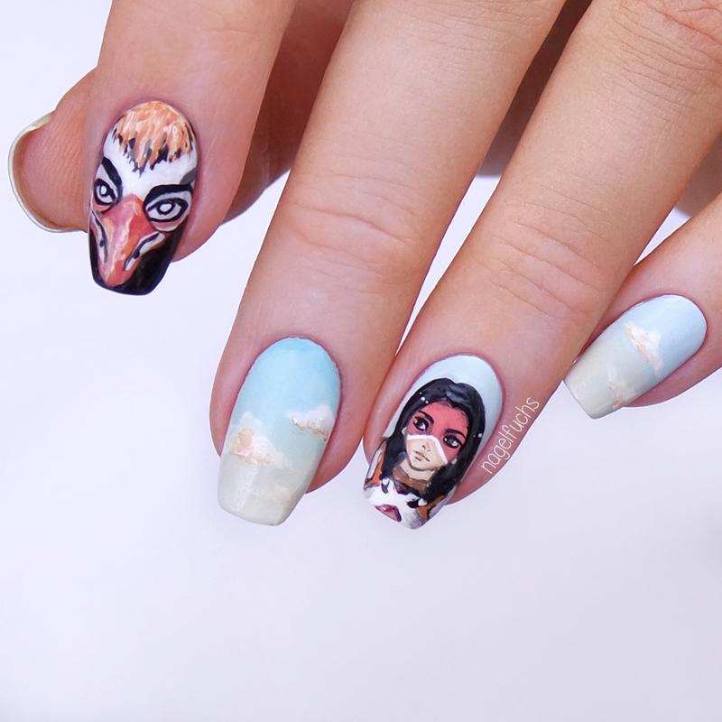 Overwatch Pharah Thunderbird nail art by nagelfuchs