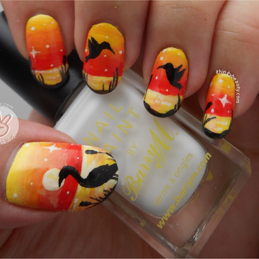 Freehand Birds At Sunset nail art by Ithfifi Williams