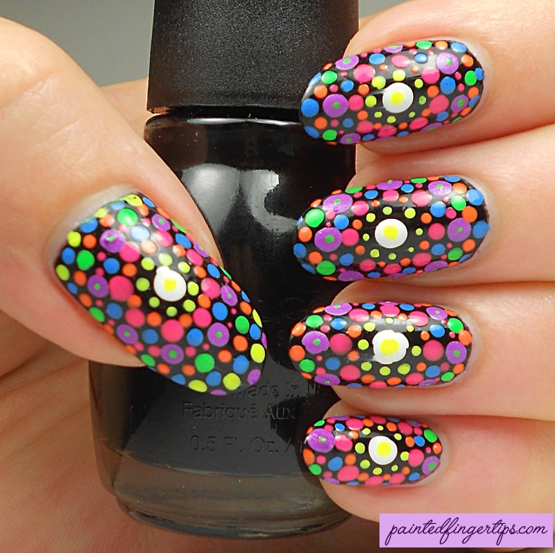 Neon dotticure nail art by Kerry_Fingertips