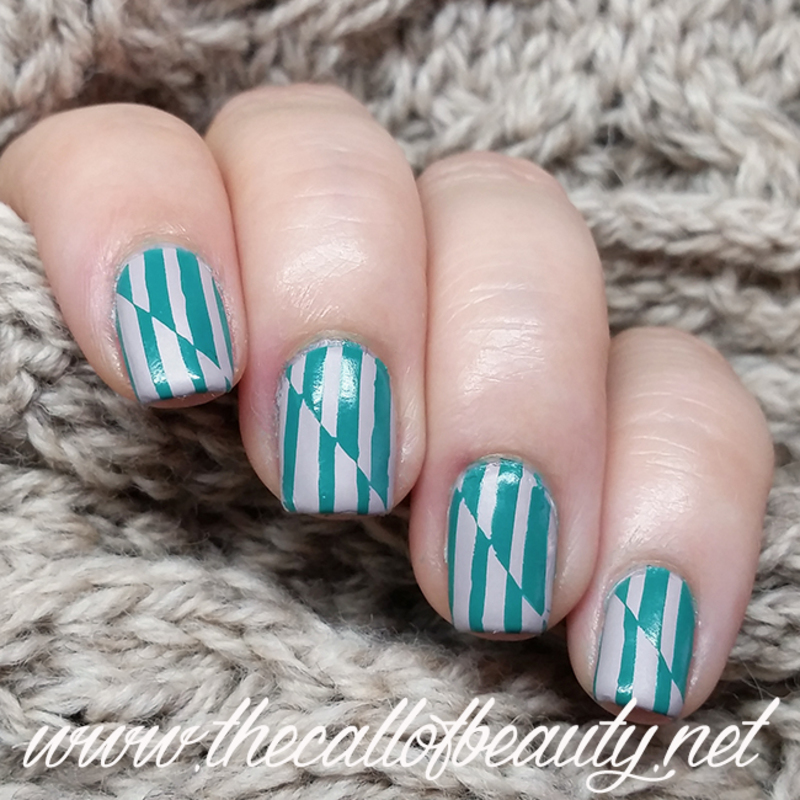 Teal and Taupe Stripes nail art by The Call of Beauty