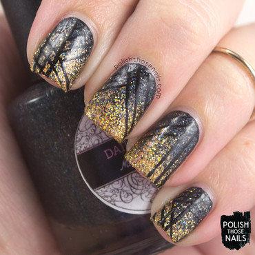Black gold holo micro glitter gradient stripe nail art 4 thumb370f