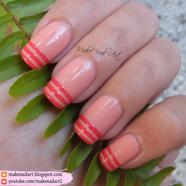 French Manicure With Stripes Nail Art Design nail art by Make Nail Art