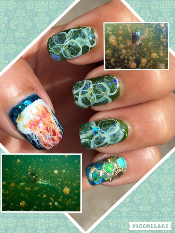 jellyfish lake nail art by Idreaminpolish
