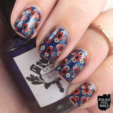 Blue sparkle double polka dot pattern nail art 4 thumb370f