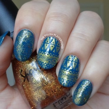 Teal with Gold Aztec Inspired Stamping nail art by Lisa N