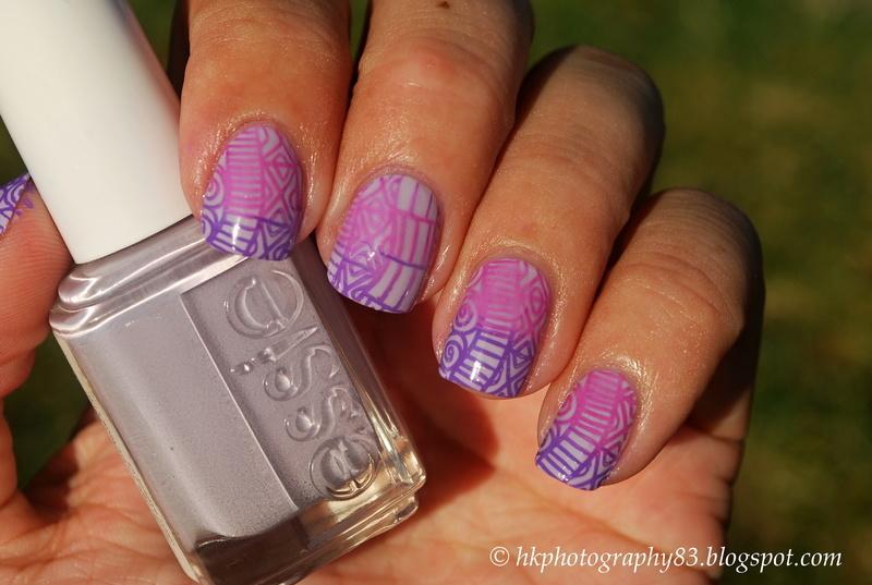 Gradient stamping nail art nail art by Hana K.