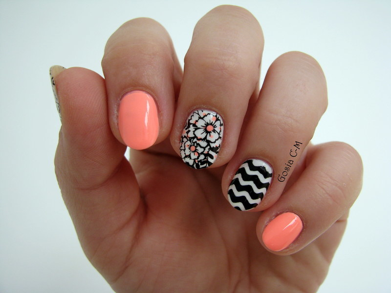 B & W & Neon nail art by Nail Crazinesss