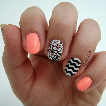 B & W & Neon nail art by Nail Crazinesss