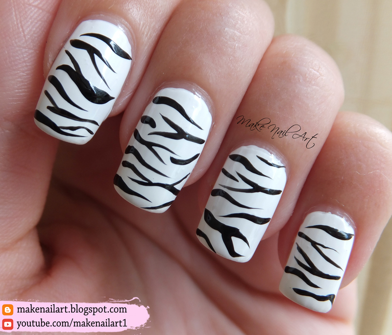 White Bengal Tiger Print Nail Art Design nail art by Make Nail Art