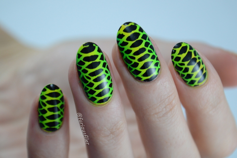 Snake Skin nail art by Furious Filer