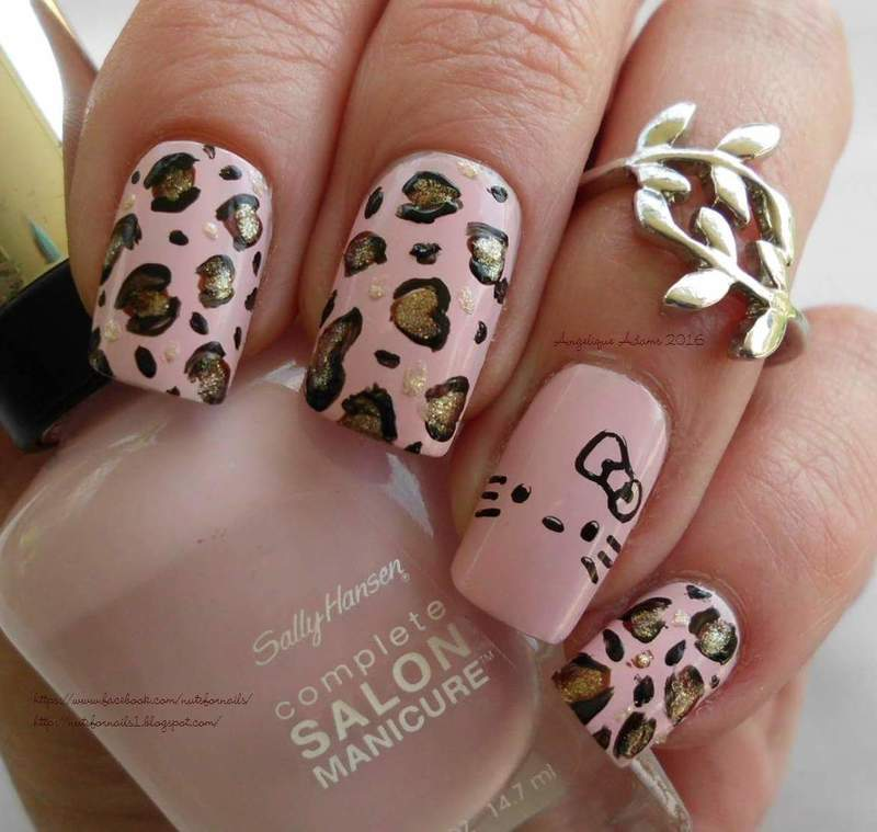 Hello Kitty Leopard  nail art by Angelique Adams