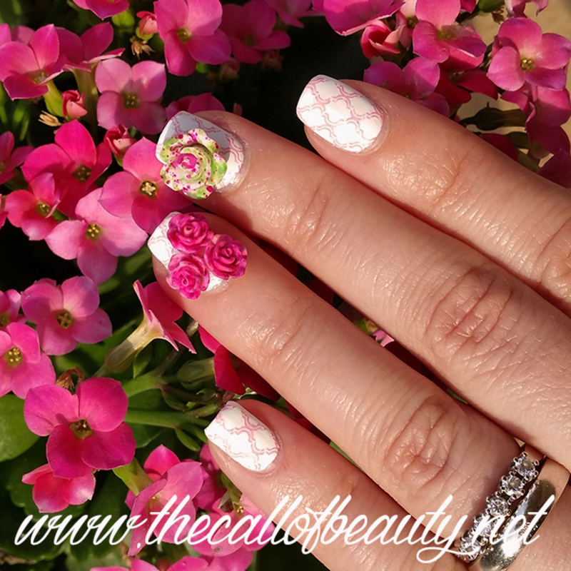 3D Flowers nail art by The Call of Beauty