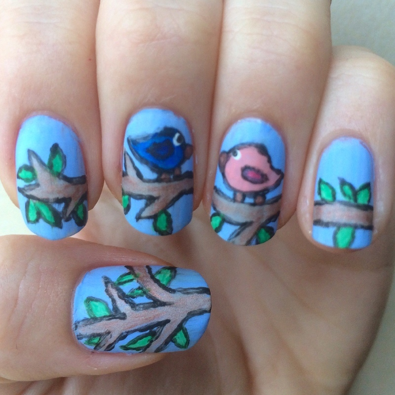 Birdies on a branch nail art by skier2201