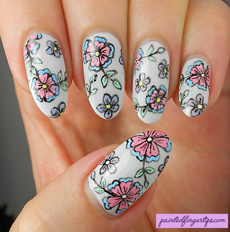 Freehand Floral nail art by Kerry_Fingertips