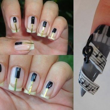 Piano Music Nails nail art by Leneha Junsu