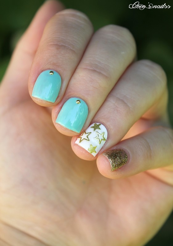 Mint & Gold nail art by Cocosnailss