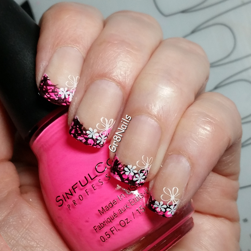 pink french manicure nail art by Gr8Nails
