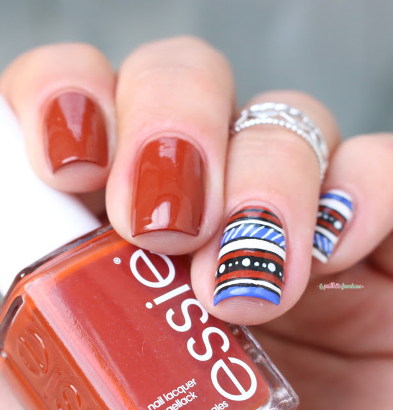 fall aztec nail art by nathalie lapaillettefrondeuse