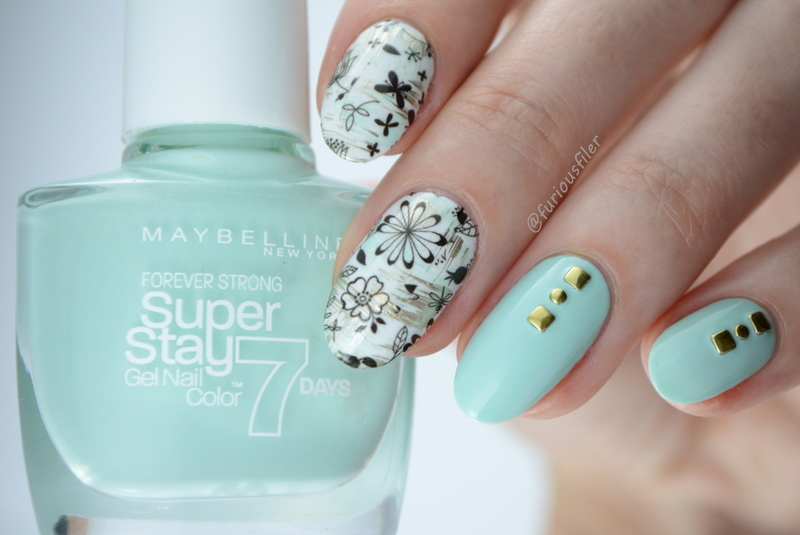 Delicate Florals nail art by Furious Filer