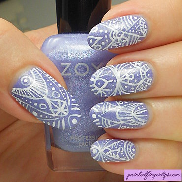 Freehand delicate print over zoya aster thumb370f