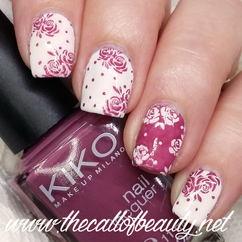 Mauve Roses nail art by The Call of Beauty