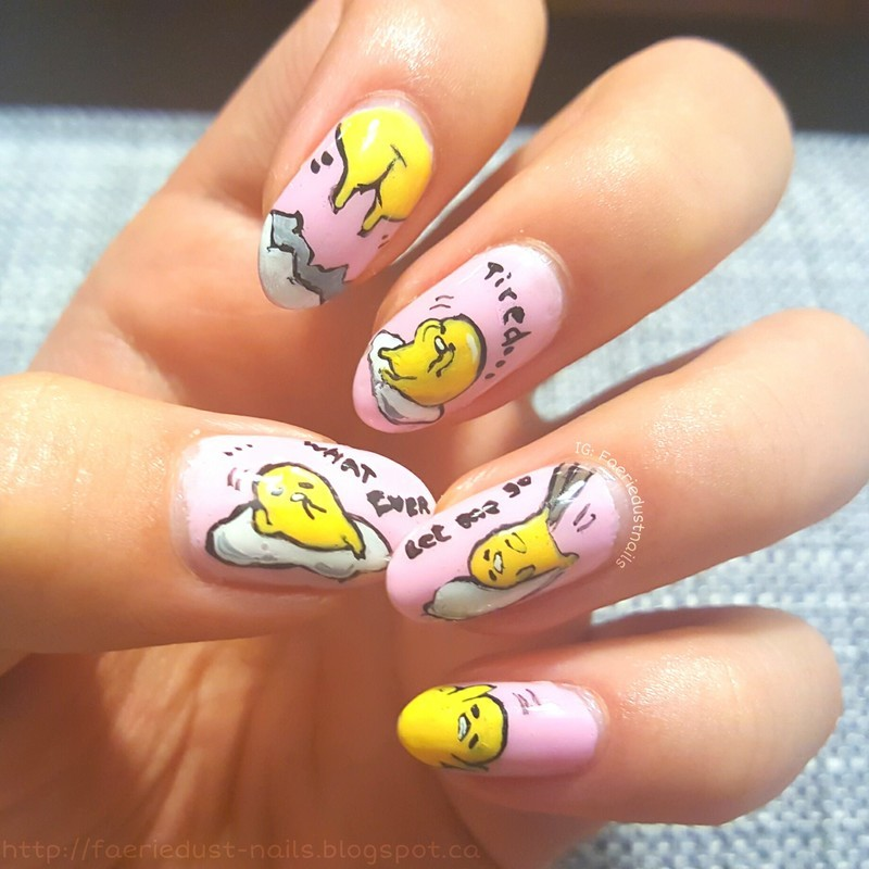 Gudetama nail art by Shirley X.