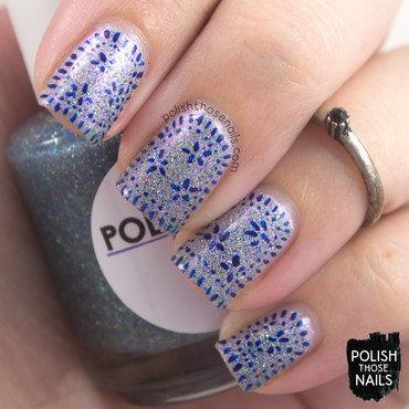 Delicate holo glitter blue pattern nail art 4 thumb370f
