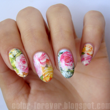 delicate floral nail art by ania