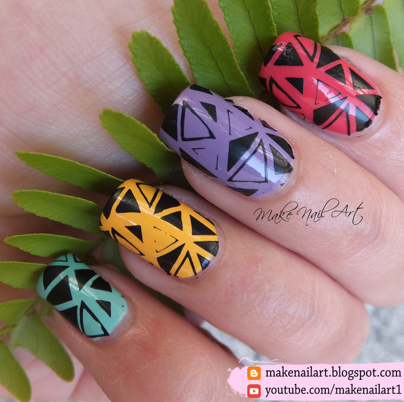 Geometric Nail Art Design nail art by Make Nail Art