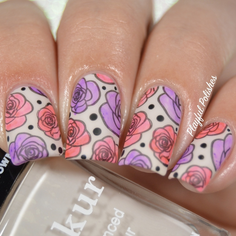 31DC2016 - Day 14, Floral nail art by Playful Polishes